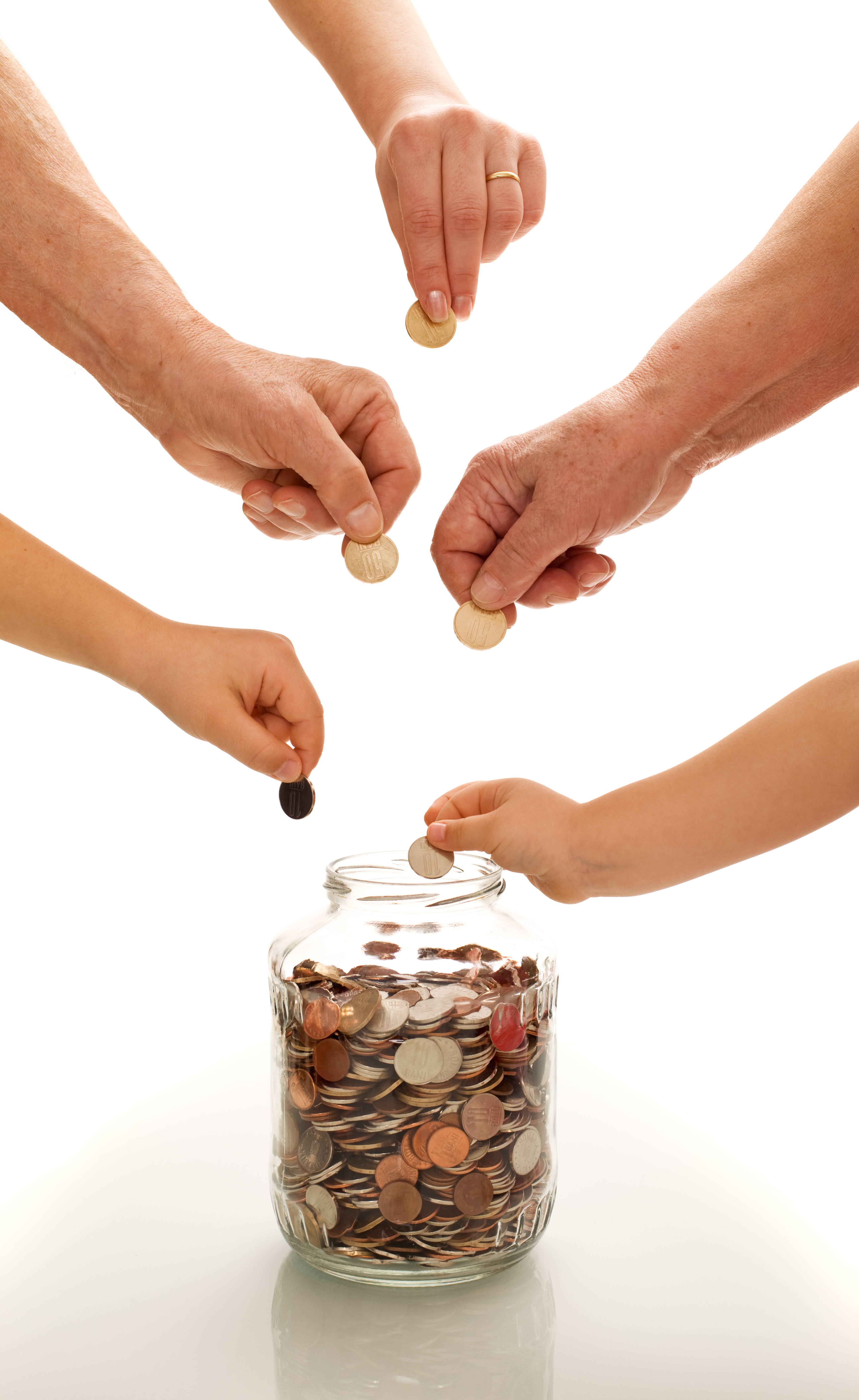 Hands of different generations saving coins